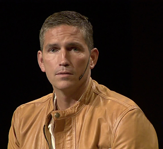 Screen shot of Jim Caviezel video