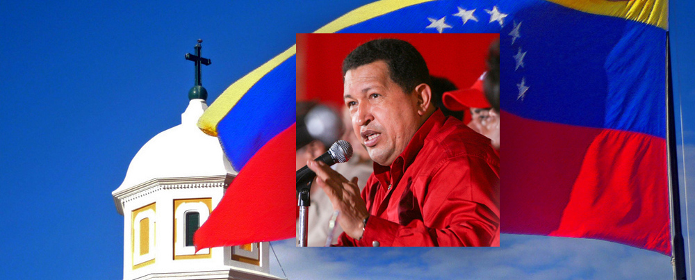 Images: Hugo Chavez by Bernardo Londoy, Church and Flag by Gabriel S. Delgado. Flickr.com