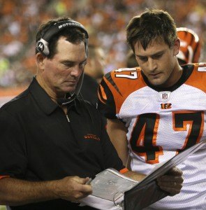 Cincinnati Bengals defensive coordinator Mike Zimmer talks with safety Corey Lynch (47) during an NFL football game against the Detroit Lions, Aug. 17, 2008, in Cincinnati.
