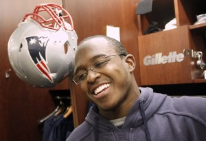 New England Patriots wide receiver Matthew Slater smiles while asked about making his first Pro Bowl during a media availability at the NFL football teams facility in Foxborough, Mass., in December 2011.