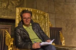 Behind-the-Scenes; Mark Burnett in the Babylon Throne Room on set at the Ouarzazate Museum location. (Joe Alblas, © 2012 Lightworkers Media UK)
