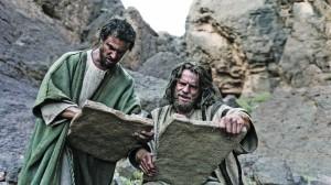 Moses (William Houston), right, tells Joshua (Sean Knopp) that he will need faith like he's never had before. (Joe Alblas, © Lightworkers Media / Hearst Productions Inc.)