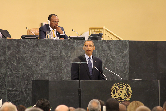 Barack Obama, President of the United States of America, speaking at the General Debate - 68th Session of UN General Assembly, New York, 24 September 2013 (Photo Credit: UNIC/Ivan Laca)