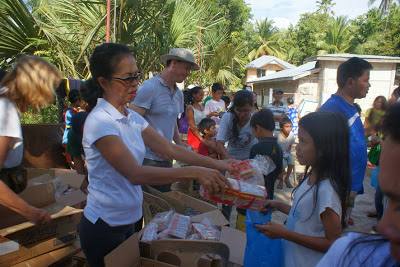 Every family receives sardine cans, crackers and water
