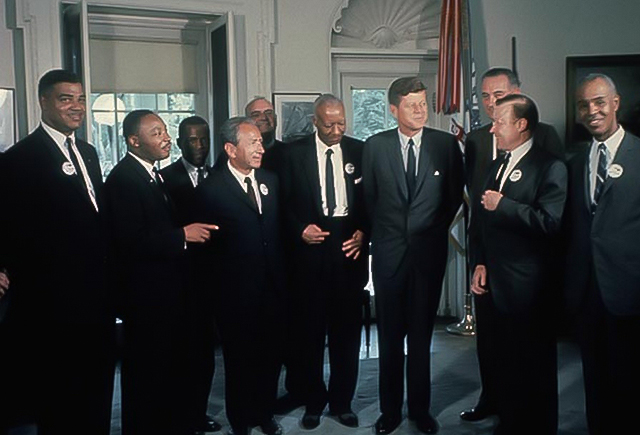 Martin Luther King, Jr. and other Civil rights leaders meet with President Kennedy and Vice President Johnson. Image Source: Records of the NAACP, Library of Congress.