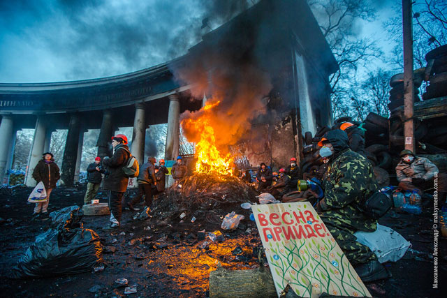 KIEV, UKRAINE - JANUARY 24: Barricade with the protesters at Hrushevskogo street on January 26, 2014 in Kiev, Ukraine. The anti-governmental protests turned into violent clashes that week.